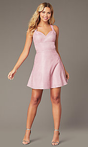 Image of metallic-glitter-knit short pink homecoming dress. Style: DJ-A8597 Detail Image 1