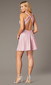 Image of metallic-glitter-knit short pink homecoming dress. Style: DJ-A8597 Back Image
