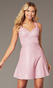 Image of metallic-glitter-knit short pink homecoming dress. Style: DJ-A8597 Front Image