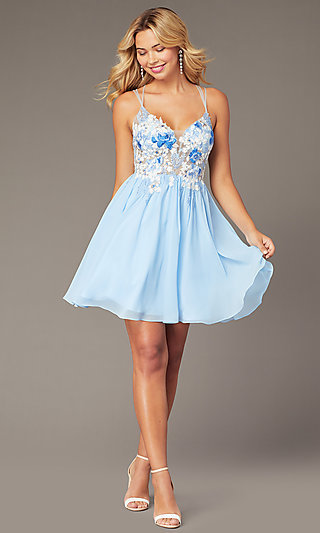 Chiffon Short Homecoming Dress with Embroidery