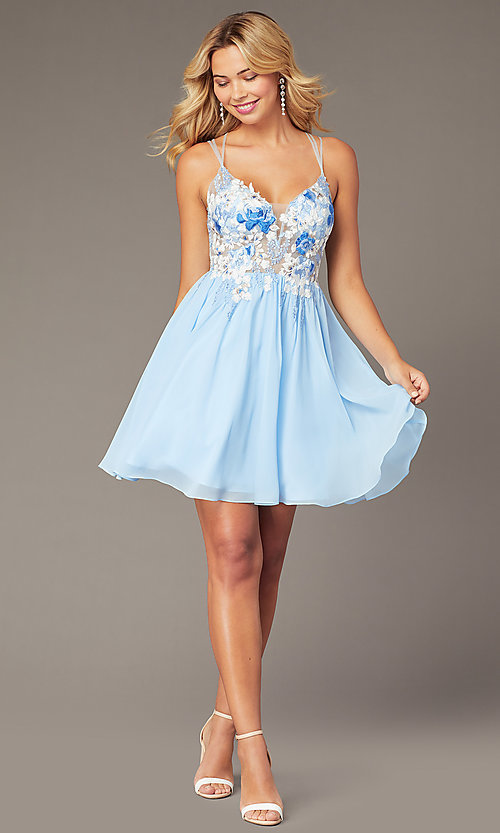 Image of chiffon short homecoming dress with embroidery. Style: DJ-A8186 Front Image