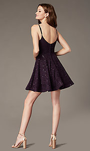 Image of sequin-lace short grape purple homecoming dress. Style: SS-D73581HQA Back Image