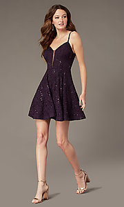 Image of sequin-lace short grape purple homecoming dress. Style: SS-D73581HQA Detail Image 1