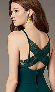 Image of evergreen lace-back short party dress with pockets. Style: SS-D77562DNE Detail Image 1
