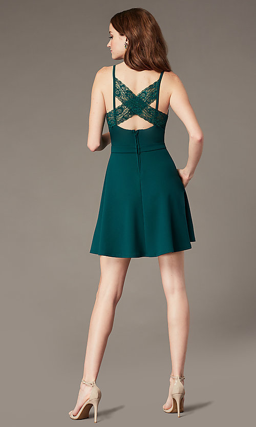 Image of evergreen lace-back short party dress with pockets. Style: SS-D77562DNE Front Image