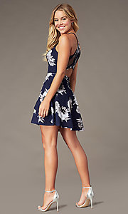 Image of gray floral-print short tiered navy party dress. Style: SS-D79221DB46 Back Image