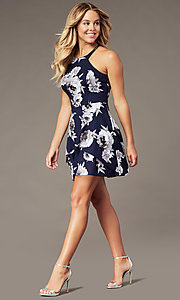 Image of gray floral-print short tiered navy party dress. Style: SS-D79221DB46 Detail Image 2