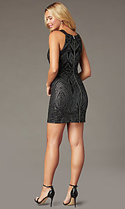 Image of black and silver short glitter homecoming dress. Style: SS-D76551K07 Back Image
