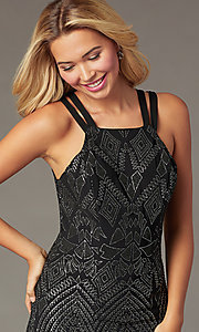 Image of black and silver short glitter homecoming dress. Style: SS-D76551K07 Detail Image 1