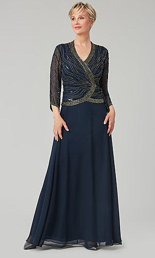 Navy Blue Faux-Wrap Bodice MOB Dress