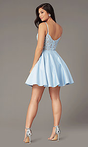 Image of embroidered-bodice short satin homecoming dress. Style: DQ-PL-3037 Back Image