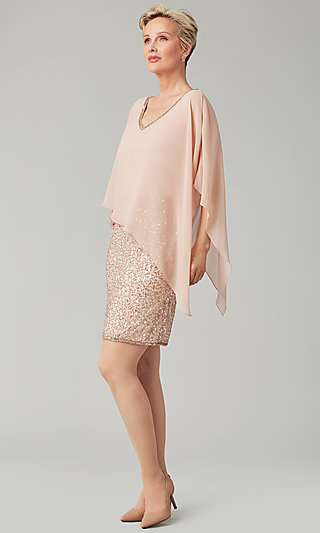 MOB Sequin Dress with Chiffon Capelet