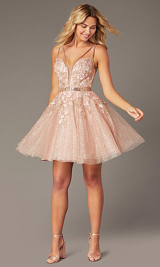 Short Babydoll Sparkly Homecoming Party Dress