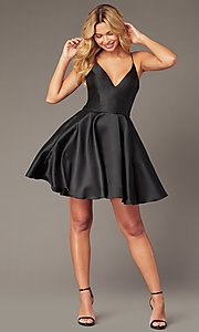 Image of JVNX by Jovani corset-back short homecoming dress. Style: JO-JVNX00384 Front Image
