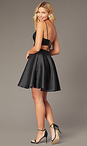 Image of JVNX by Jovani corset-back short homecoming dress. Style: JO-JVNX00384 Back Image