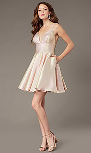 Image of short metallic homecoming dress with beaded straps. Style: JO-JVN-JVN3782 Detail Image 2