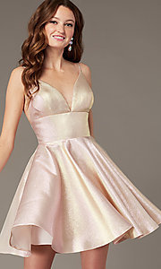 Image of short metallic homecoming dress with beaded straps. Style: JO-JVN-JVN3782 Front Image