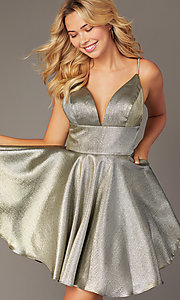 Image of short metallic homecoming dress with beaded straps. Style: JO-JVN-JVN3782 Detail Image 3