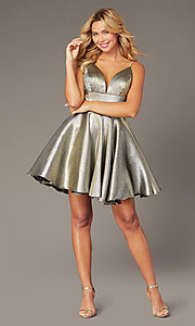 Image of short metallic homecoming dress with beaded straps. Style: JO-JVN-JVN3782 Detail Image 5