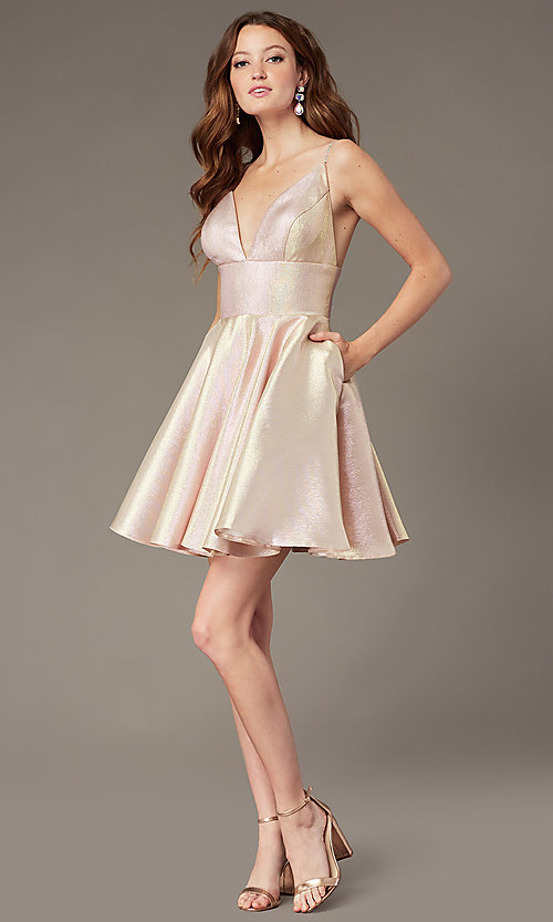 Image of short metallic homecoming dress with beaded straps. Style: JO-JVN-JVN3782 Detail Image 1