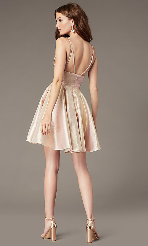 Image of short metallic homecoming dress with beaded straps. Style: JO-JVN-JVN3782 Back Image