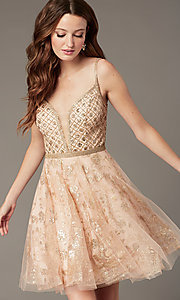 Image of JVN by Jovani babydoll short homecoming dress. Style: JO-JVN-JVN4298 Front Image