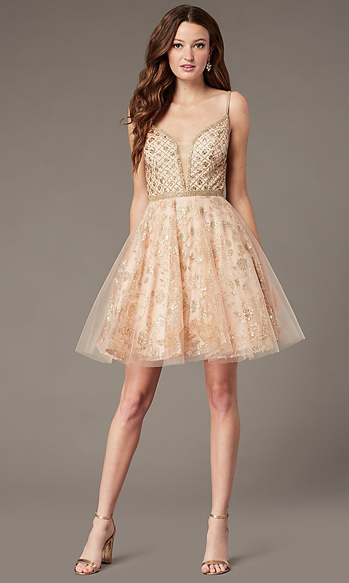 Image of JVN by Jovani babydoll short homecoming dress. Style: JO-JVN-JVN4298 Detail Image 1