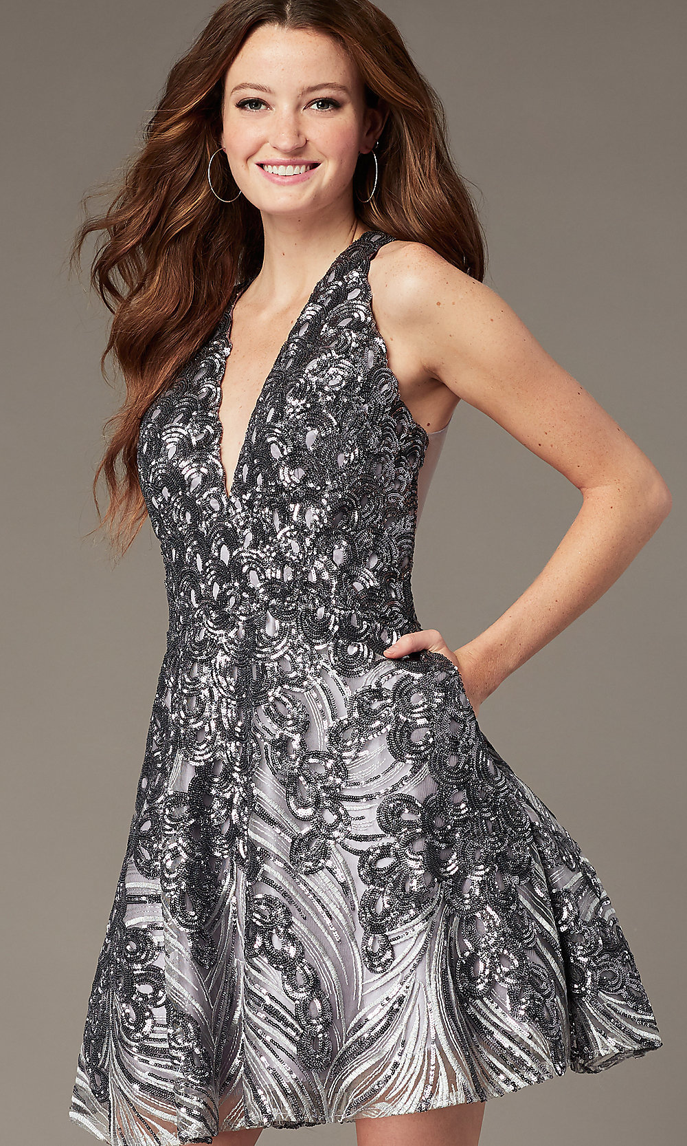 best selection of distinctive style how to serch Gunmetal Silver Short Sequin Homecoming Dress