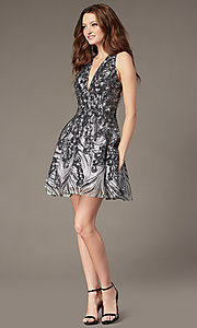 Image of gunmetal silver short sequin homecoming dress. Style: JO-JVN-JVN66654 Detail Image 1