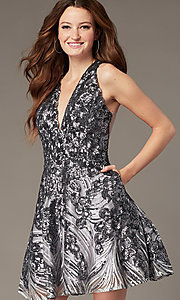Image of gunmetal silver short sequin homecoming dress. Style: JO-JVN-JVN66654 Front Image