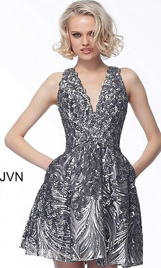 Short Fit-and-Flare V-Neck Designer Homecoming Dress