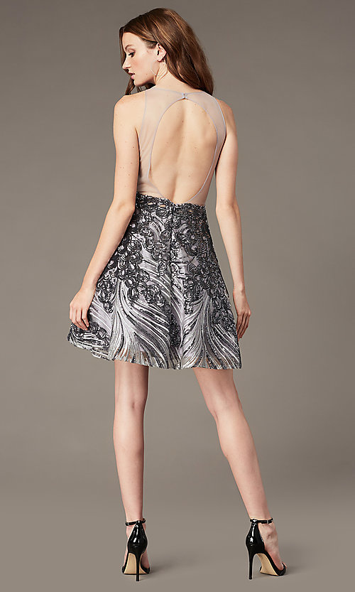 Image of gunmetal silver short sequin homecoming dress. Style: JO-JVN-JVN66654 Back Image