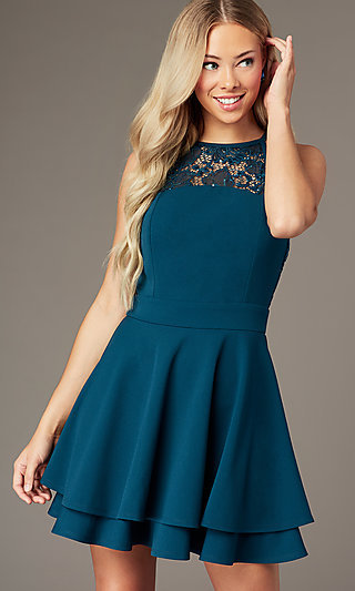 Tiered Short Teal Green Party Dress with Lace