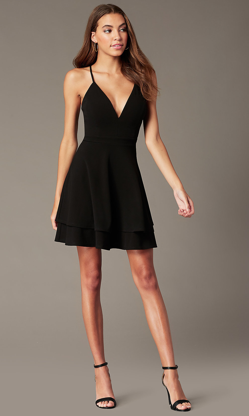 Tiered Black Short Party Dress With