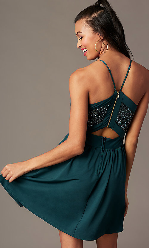 Image of spruce green short holiday party dress with beads. Style: EM-HNW-4285-387 Back Image