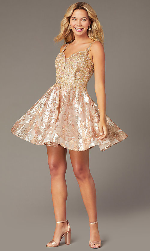 Image of embroidered-applique short a-line hoco dress. Style: DJ-PL-A9102 Detail Image 1