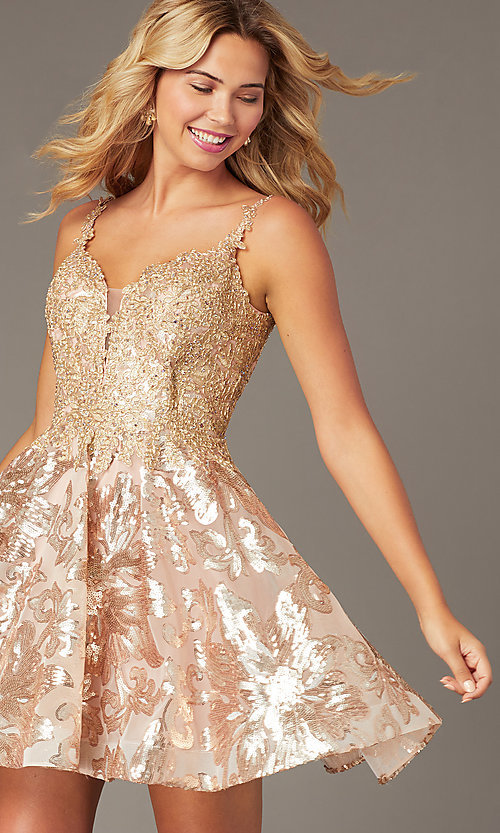 Image of embroidered-applique short a-line hoco dress. Style: DJ-PL-A9102 Front Image