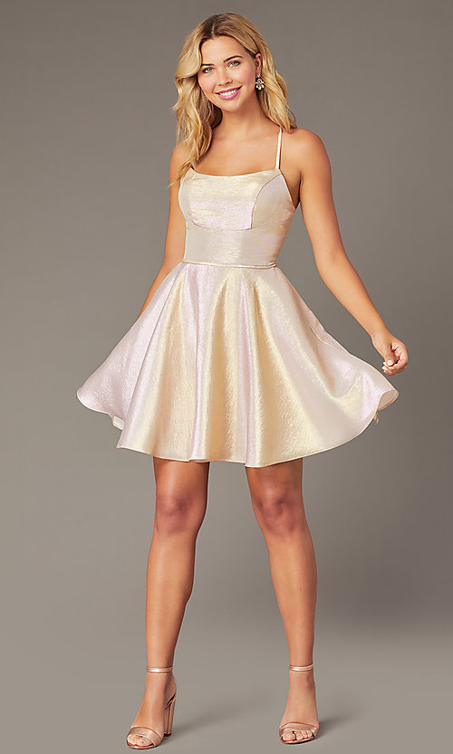 Image of short iridescent homecoming party dress. Style: DJ-PL-A8992 Detail Image 1