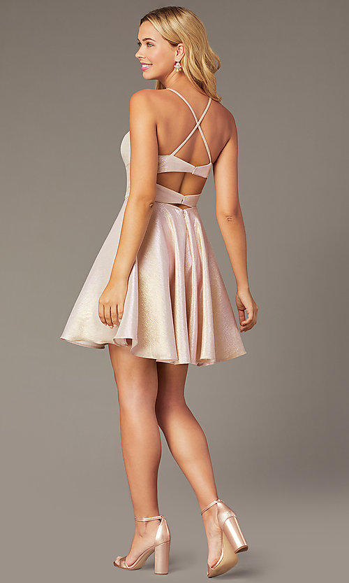 Image of short iridescent homecoming party dress. Style: DJ-PL-A8992 Detail Image 2