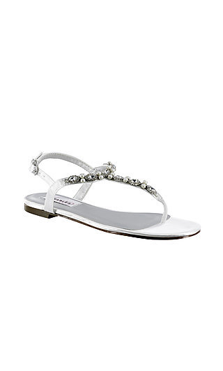 Stella Flat Sandal in White Satin by Dyeables
