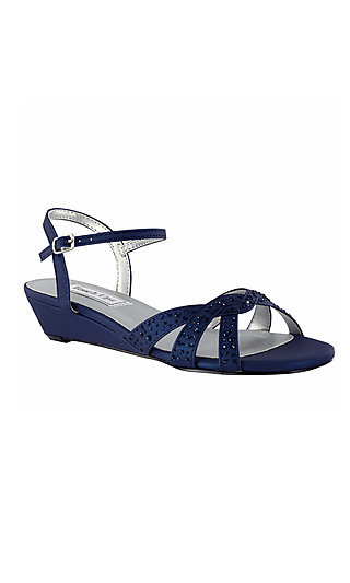Open-Toe Navy Blue Lena Shoe by Touch Ups