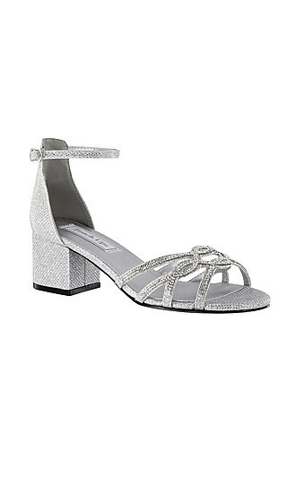 Zoey Silver Sandal with a Block Heel by Touch Ups