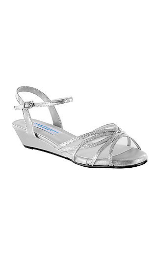 Desi Silver Sandal with a Short Heel