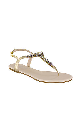 Paula Thong Sandals with Pearls in Gold