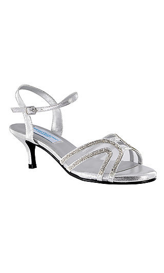 Layla Open Toe Shoe with a Short Heel in Silver