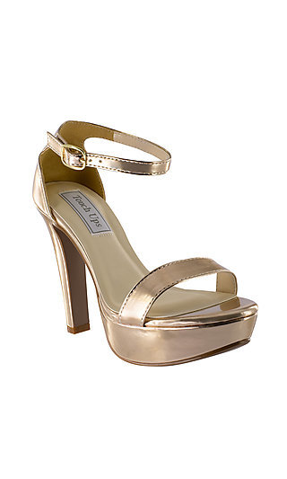 Mary Open-Toe Pump in Metallic Rose Gold