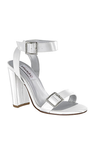White Open-Toe Calista Sandal with a High Heel
