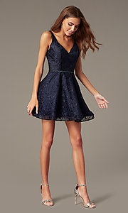 Image of navy lace homecoming dress with beaded waist. Style: NC-237 Front Image