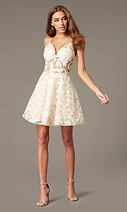 Image of sheer-waist embroidered short ivory party dress. Style: NC-265 Detail Image 1