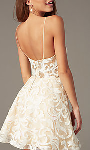 Image of sheer-waist embroidered short ivory party dress. Style: NC-265 Back Image